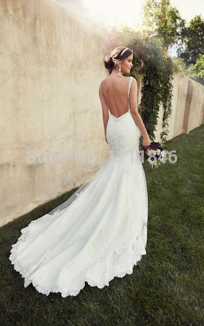 Low Back Mermaid Wedding Dress : Sexy low back wedding dress mermaid lace chapel train g