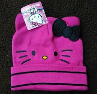 (10 Pcs/Lot) Lovely Bowknot Hello Kitty 1~4 Years Children Girl Knitting Beanies Hats