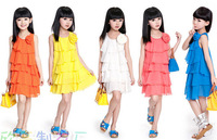 Free Shipping 2014 Summer Chiffon Lace Lovely bowknot Casual Sleeveless Princess Baby Girl Children's Dresses Clothing
