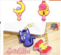 2014 new fashion cartoon Sailor Moon cute 3.5mm universal dust Plug Earphone Jack Plug Headset Stopper Cap for iPhone Samsung