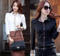 Women Blouses 2014 Women Leopard Patchwork Long Sleeve Shirt Camisetas Femininas Ladies White Office Shirts Slim Body Shirt XXL