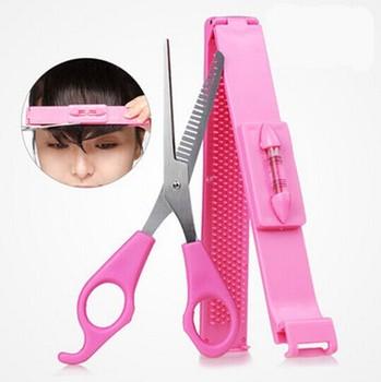Hair Clip + Scissors Bangs Cut Kit Makeup Tools Set Women Girls Haircut K671