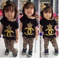 CCS200 Free shipping 2014 summer baby girls clothing set fashion lace shirt+leopard legging girls suits kids sets retail