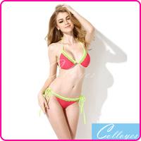 Colloyes 2014 Sexy Bikinis Swimwear Watermelon Red + Green Lace Triangle Top with Classic Cut Bottom Bikini Set Swimsuit