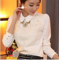 Hot Sale Women Shirt  Summer Autumn Women Blouses Shirts Tops Lace Chiffon White Floral Women Shirts  Long Sleeve Lady Top  E627