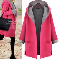 XL-5XL Plus Size 2014 New Women Winter Coat Top Quality Long Hooded Cardigans Thicken Wool Coat Women Desigual Cardigans
