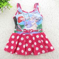 4-12 Years Children Baby Swimsuit/Kids One Piece Swimwear/Girls Swimming Clothes/Free Shipping Retail 1 pc/Princess Sophia