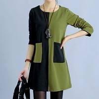 Female Autumn M-3XL Loose Casual Dress Korean Brief Cute Street Plus Size Short Kleider Green Orange Patchwork Pockets Vestidos