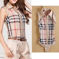 Fanshou Free Shipping 2014 Women Blouses Sleeveless Casual Body Shirt Turn-down Collar Blusas Plaid Bodysuit Roupas Femininas