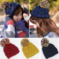 2014 New Fashion Korean Female Autumn Winter Cute Ball Hat Wool Knitted Retro Twist Hat Warm Ear Winter