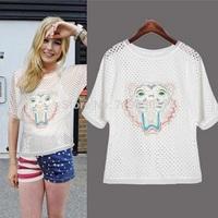 European Brand New Fashion Summer Women Cotton Casual T shirt Girl Cute Tops Ladies Tees Free Shipping