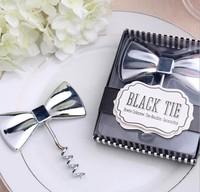 """100 PCS/LOT """"Black Tie"""" Bow Tie Corkscrew Favors Wedding Souvenirs for Guest Free shipping"""