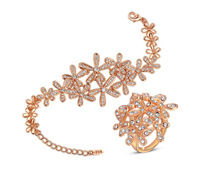 Fashion Women Jewelry Genuine Austria Rose Gold Five Petals Flower Crystals Bracelet+Ring Sets Party Anniversary Alloy