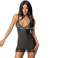Women fantasia Sexy Lingerie Lace stripe Underwear Mini Dress Babydoll Sleepwear Black M L XL XXL