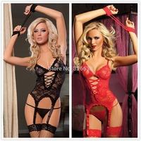 Black red Sexy Lingerie Teddy Underwear Ladies Babydoll + G-String + Handcuffs + Garter free tracking