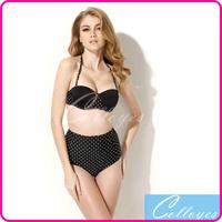 Colloyes 2014 New Sexy Bikinis Set Polka Dot biquini Swimwear with Bandeau Top and High-waist Bottom