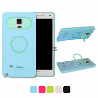 Glow in the Dark Hard Plastic Luminous Silicone Back Cover Case with Ring Stand for Samsung Galaxy Note 4