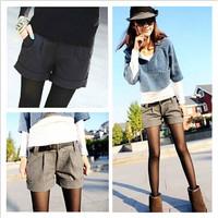 Winter New Korean women Plus Size High Waist Woolen Shorts Female Casual Curling Shorts Pants  10314