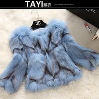 EMS Free shipping 2015 new winter women's  full leather fox fur short design three quarter sleeve women's fur outerwear coat