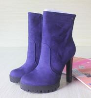 Purple brief velvet boots side zipper high-heeled platform medium-leg boots martin boots free shipping