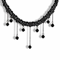 2014 Hot Sale Tattoo Choker Necklace Black Acrylic Beads Tassel Necklaces Gothic Style Jewelry Cheap Jewelry Wholesale Retail