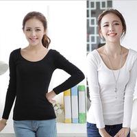 Cartoon Women Long Sleeve T-shirts Modal Short Sexy Slim Tops Tee Spring Autumn Basics T-shirt  Clothing