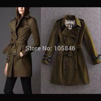 Autumn Disigner Brands Women High Fashion British Handsame Army Green Luxury Geniune Leather Neck Belt Sleeve Cuff Long Trench