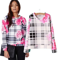 Fall 2015 the new Europe and the wild rose the flower print Turtleneck Sweater loose women long sleeve t shirt wholesale