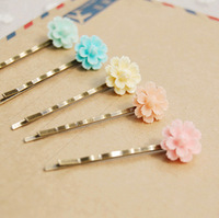 10pcs/lot Ice Cream Colored Flower Hair Pin 5 Colors Christmas Small Clips Vintage Hair Accessories for Girls Kids fq024