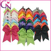 "Free Shipping 30 Pcs/lot 8"" Girls Cheerleading Hair Bows,Baby Rhinestone Ponytail Cheer Bow,Children Ribbon Cheerleader Hairbow"