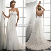 Beautiful Handmade Flower Ruched Sweetheart White Chiffon Beach Wedding Dresses China 2015 On Sale
