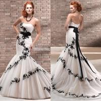 Popular Style Black Lace Appliques Ivory Organza Sweetheart Mermaid Dress Wedding 2015 New
