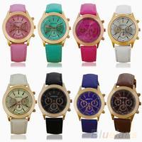 Women's Vintage Geneva Roman Numerals Faux Leather Analog Quartz Wrist Watch