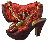 Design No.GF09-wine!free shipping African shoes and matching bags for party!top quality Italian shoes and bags with rhinestone!