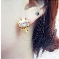 Free Shipping  Illusion Ear Fake Cheater Rock Punk Screw Spike Rivet Taper Stud Earrings Men Women C30R16C