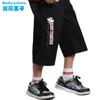 boy 100% children's child cotton clothing child beach capris pants capris child pants