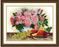 "Wall Home Decoration Cross StitchPrecision  Printing"" Peony vase with fruit "" Cross-Stitch Kit , DIY Cross Stitch Sets,"