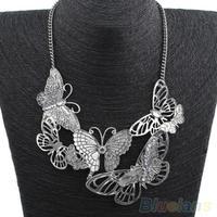 Women Retro Hollow Butterflies Pendant Silver Color Metal Choker Chain Necklace