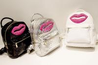Free Shipping 2014 Newest Fashion Leisure Women's PU Lips Diamante Backpacks Bag Girl's Cute Candy Color Zipper Backpacks Bag