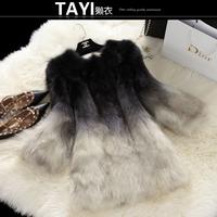 EMS Free shipping 2015 new winter women's  medium-long full leather o-neck gradient  full pelt slim fox fur coat  (M-XL)