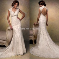 Cap Sleeves Open Back Lace Wedding Dress Mermaid 2015 Vintage Bridal Gowns For Sale