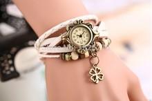 Ms Roman numerals dial leather jewelry weaving flower type restoring ancient ways of bracelet quartz