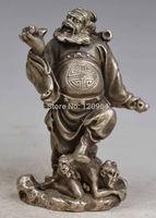 SIZE:  2*5 inch Old Collectibles Decorate Handmade Copper Silver Immortal Statue / Ornament Tibetan Antique Copper Bronze