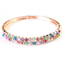 Fashion 18K Rose Gold Rhinestone Bracelet Colorful Crystal Bangles Jewelry