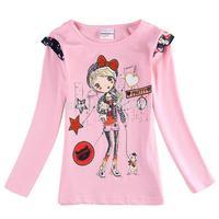New girls long sleeve match-all princess embroidery T-shirt / children spring autumn coat / kids clothes