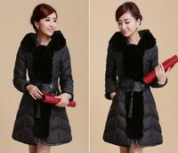 women new winter 2014 rabbit fur collar can cultivate one's morality temperament belt down jacket female long coat. Coat jacket