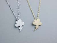 Wholesale Zinc Alloy Gold Silver Cute Storm Little cloud lightning Necklace Pendant Necklace  (mix color)