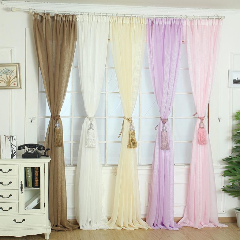 Elegant Solid Gauze Tulle Door Window Curtains