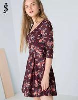 2015 New European women half sleeve Retro floral prints show thin backless dress temperament casual Dress WD0554