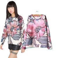 Wholesale Europe wind red big flower print plus size relaxed Turtleneck Sweater Women's sweater long sleeve Tops